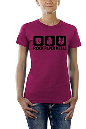 Touchlines Stone Paper Rock Heavy Metal Ladies Women's T-Shirt Sorbet Size:XS