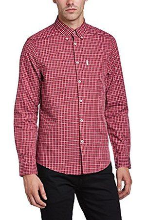 Men Long sleeves - Ben Sherman Men's Satin Over Checkered Button Front Long Sleeve Casual Shirt