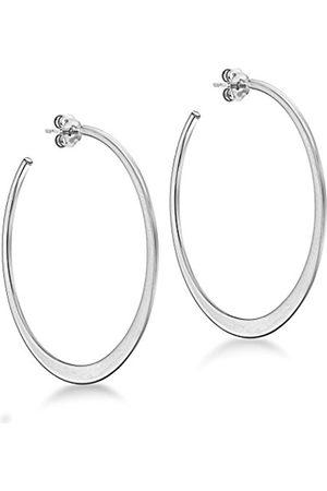 Tuscany Silver Women's Sterling Rhodium Plated 45 mm Flat Graduated Hoop Earrings