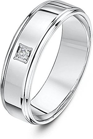 Women Rings - THEIA 9ct White Gold Flat Court Shape 0.05ct Round Solitaire Diamond Prong Set 6mm Wedding Ring - Size L