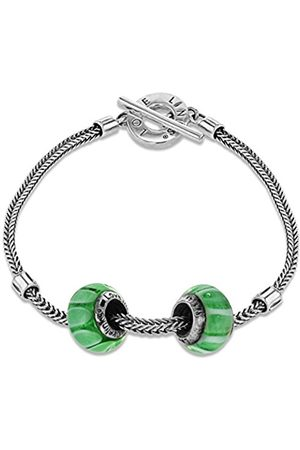 Lovelinks 925 Sterling Silver Striped Murano Glass Beads Toggle Bracelet of Length 20cm