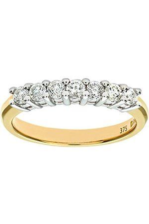 Women Rings - Naava Women's 9 ct Yellow Half Carat Diamond Claw Set Eternity Ring