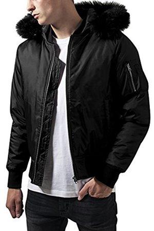 Men Bomber Jackets - Urban classics Men's Hooded Basic Bomber Jacket, -Schwarz ( 7)
