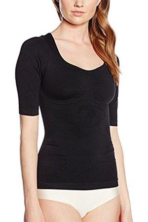 Women Shapewear - Belly cloud Women's Hemd Halbarm Mit Schnörkellilie Shapewear Top, -Schwarz (Schwarz 001)