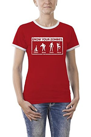 Women T-shirts - Touchlines Women's Know Your Zombies Kontrast T-Shirt, -Rot ( 08)