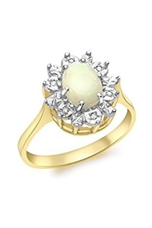 Carissima Gold 9 ct Yellow Gold Diamond and Opal Ring
