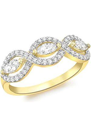 Women Rings - Carissima Gold 9 ct Gold Triple Cubic Zirconia Elliptic Ring - Size L