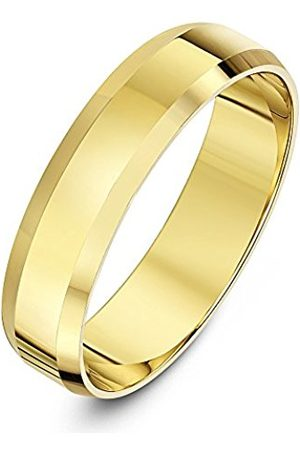 Rings - THEIA Unisex 9ct Super Heavy Flat Shape Bevelled Edge Polished 5mm Wedding Ring - Size U