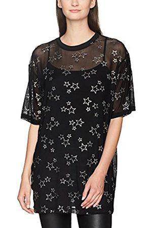 Women Dresses - Women's Glitter Star Mesh Tee Dress
