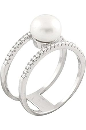 Bella Sterling Silver with 1 Freshwater Pearl and Cubic Zirconia Ring