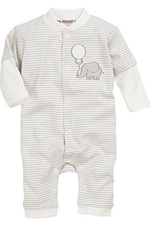 Bathrobes - Schnizler Unisex Baby Schlafoverall Elefant geringelt, Oeko-Tex Standard 100 Sleepsuit, (Natur)