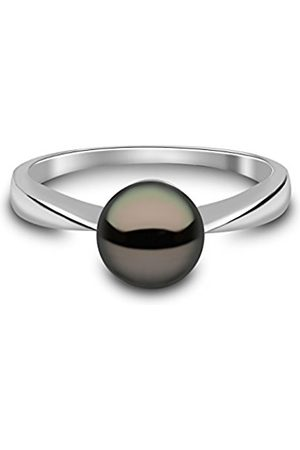 Women Rings - 9 ct White Gold Semi Round Cultured Freshwater Pearl Ring - Size P