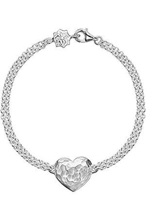 Women Bracelets - Cherish Engravable Flat Heart Double Chain Bracelet of 18.5cm