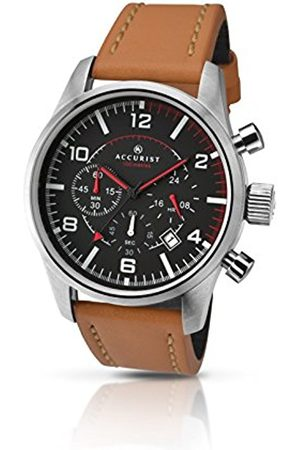 Men Watches - Men's Quartz Watch with Dial Chronograph Display and Leather Strap 7022.01