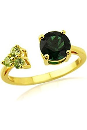 Women Rings - Gold Plate on 925 Sterling Silver Created Peridot and Coloured Cubic Zirconia Ladies Ring - Size P T36166CPZGG2P