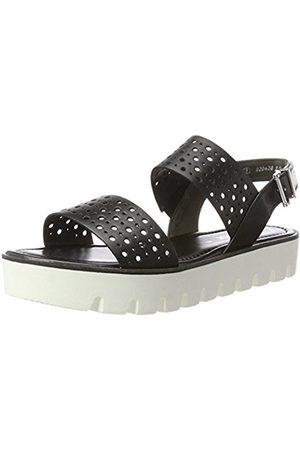 Women Sandals - Gabor Shoes Women's Fashion Wedge Heels Sandals, (Schwarz S Weiss)
