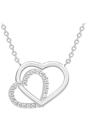 Women Necklaces - Carissima Gold 9ct Cubic Zirconia Plain Heart Necklace of 45.72cm