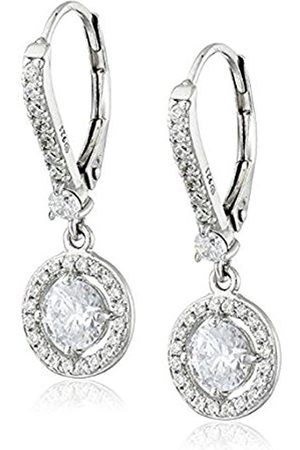 La Lumiere Sterling Silver Platinum Plated Swarovski Zirconia (1cttw) Halo Drop Earrings