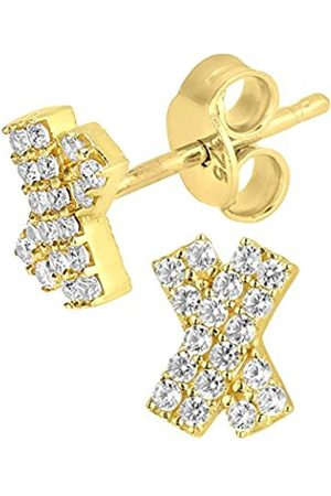 Earrings - 9 ct Yellow Kiss Stud Earrings with CZ Stones
