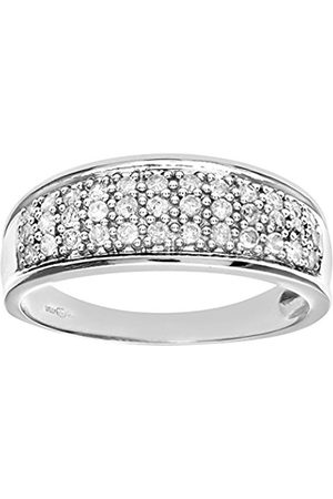 Women Rings - Naava Women's 9 ct Quarter Carat Diamond Multi Row Eternity Ring