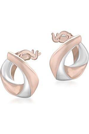 Women Earrings - Carissima Gold Carissima 9ct 2 Tone Electroform Polished Hoop Earrings