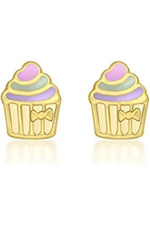 Women Earrings - Carissima Gold 9ct Yellow Gold Enamel Cupcake Stud Earrings