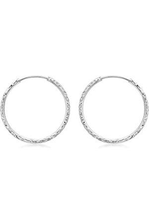 Women Earrings - Carissima Gold 9 ct 27 mm Diamond Cut Hoop Earrings