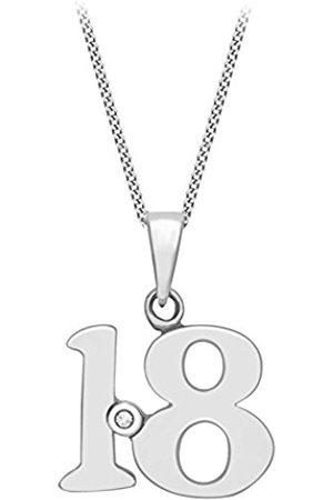 Women Necklaces - Carissima Gold 9ct Diamond Set 18 Pendant on Curb Chain Necklace of 46cm