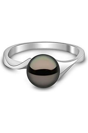 Women Rings - 9 ct White Gold Semi Round Cultured Freshwater Pearl Ring - Size N