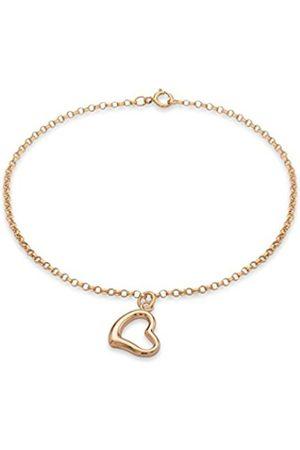 Carissima Gold 9 ct Rose Heart Charm Round Belcher Chain Bracelet 18 cm/7 inch