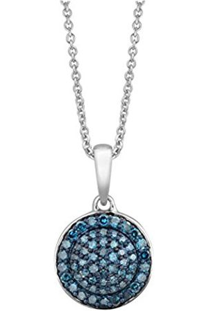Necklaces - Sterling Silver Diamond Cluster Pendant with Chain