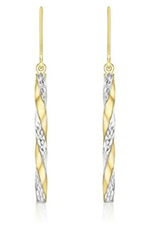 Carissima Gold 9ct 2-Colour Twist Diamond Cut Pole Drop Earrings