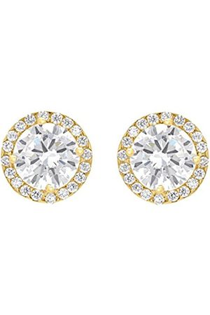 Women Earrings - Carissima Gold 9 ct 9 mm Round Cubic Zirconia and Pave Set Stud Earrings