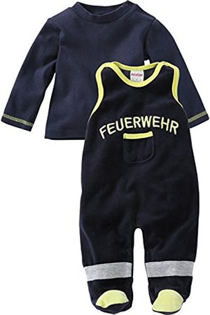 Rompers - Schnizler Unisex Baby Set Nicki Playsuit Footies Neck Long Sleeve, Feuerwehr Romper