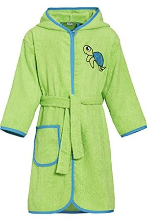 Boys Bathrobes - Playshoes Boy's Kinder Frottee-Bademantel Schildkröte mit Kapuze Bathrobe, (grün)