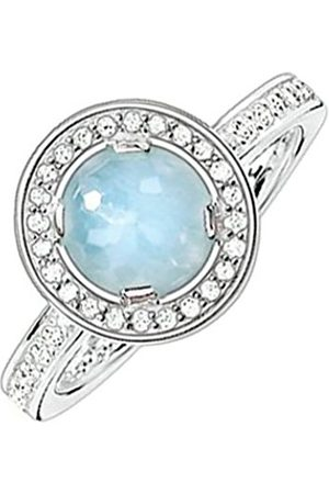 Women Rings - Thomas Sabo Women-Ring Glam & Soul 925 Sterling Zirconia Milky Aquamarine blue Size O (17.2) TR1971-694-31-54