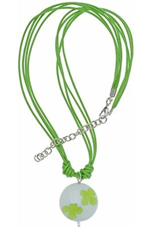 Women Necklaces - Murano Glass Lime Floral Disc and Multi-Strand Cord Necklace of 40.0-46.0cm