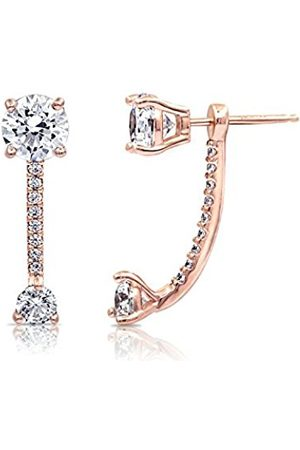 La Lumiere Rose Gold Plated Sterling Silver Swarovski Zirconia Fashion Forward Earring Jackets