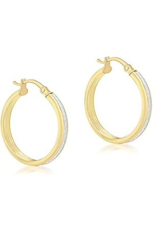 Carissima Gold Women's 9 ct 17 mm Ribbed Stardust Creole Earrings