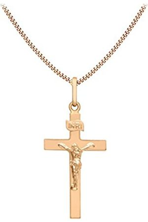Carissima Gold 9ct Rose Crucifix Pendant on Curb Chain Necklace of 46cm