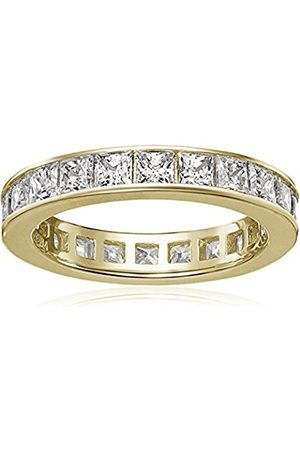 Women Rings - Yellow gold-Plated Sterling Silver Swarovski Zirconia Channel Princess All-Around Ring