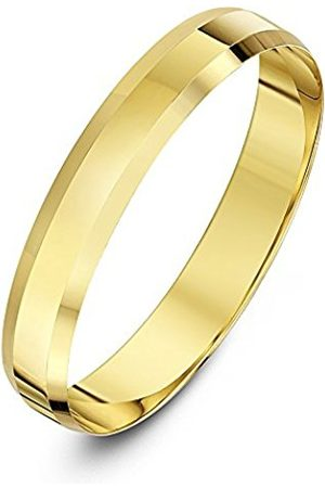 Rings - THEIA Unisex 9ct Heavy Flat Shape Bevelled Edge Polished 4mm Wedding Ring - Size S