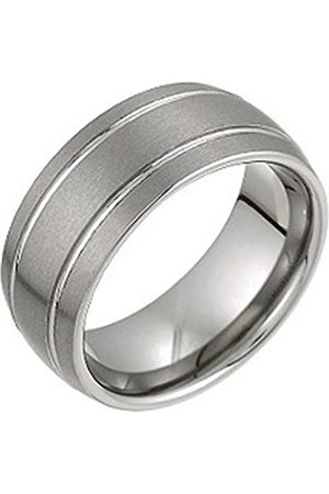 Men Rings - THEIA Tungsten Flat Court Grooved 9mm Ring - Size N