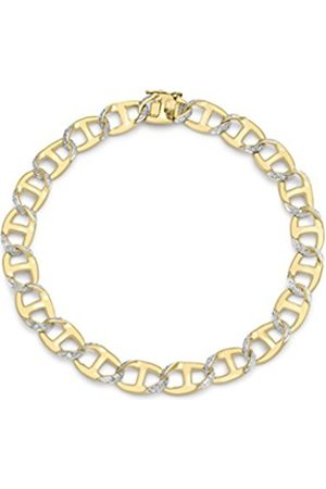 Women Bracelets - Carissima Gold Carissima 9 ct Yellow Gents Diamond Curb Bracelet 21.6 cm/8.5 inch
