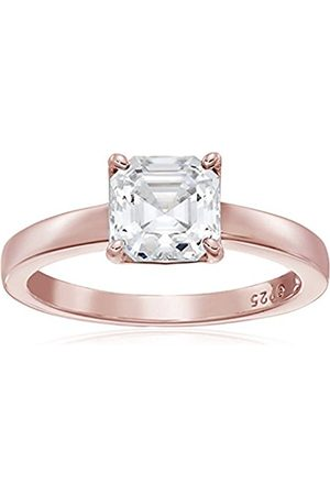 Women Rings - Rose Gold-Plated Sterling Silver Swarovski Zirconia Asscher-Cut Solitaire Ring (2 cttw)