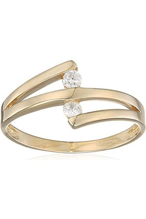 Citerna Women's 9 ct Gold Tension Set Two Cubic Zirconia Crossover Ring