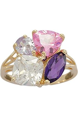 Women Rings - Gold Plate on 925 Sterling Silver Created Amethyst and Coloured Cubic Zirconia Ladies Ring - Size L T17217CARWCZG2L