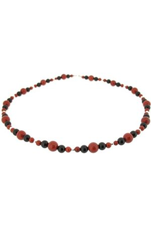 Earth Jasper and Black Onyx Beaded Necklace at 45cm in Length