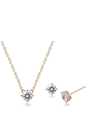 La Lumiere Rose Gold Plated Sterling Silver Swarovski Zirconia Pendant Necklace and Stud Earrings Jewelry Set