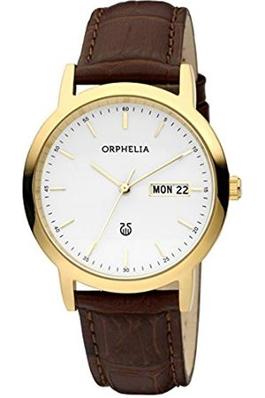 ORPHELIA Momento Men's Quartz Watch with White Dial Analogue Display and Black Leather Strap 61606